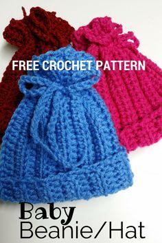 Free crochet pattern - Newborn or preemie hat. http://www.poochie-baby.com