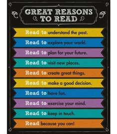 """Inspire students to read with this colorful chalkboard Great Reasons to Read Chart. Display this motivational resource tool in the reading center for easy student reference. Chart measures 17"""" x 22""""."""