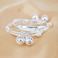 2 pcs Silver Plated Baby Bracelets Cuff Fashion Kid Bell Bracelet Toddler New Gold Mangalsutra Designs, Gold Earrings Designs, Payal Designs Silver, Silver Bracelet For Girls, Gold Jhumka Earrings, Baby Jewelry, Gold Jewelry, Anklet Designs, Fancy Jewellery
