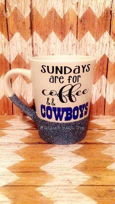 Dallas Cowboys Coffee Mug  Glittered Coffee Mug by MarquezWorkShop