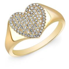 Anne Sisteron  14KT Yellow Gold Diamond Rachel Heart Ring (3330 QAR) ❤ liked on Polyvore featuring jewelry, rings, gold diamond jewelry, diamond jewelry, gold heart shaped ring, diamond rings and diamond jewellery