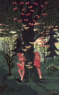 "Here's an exclusive look at new images from the Gravity Falls Art Show. ""A Walk in the Woods"" by Sara Kipin."
