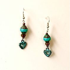 NEW Turquoise Heart Earring Green by JewelryOFeatherstone on Etsy