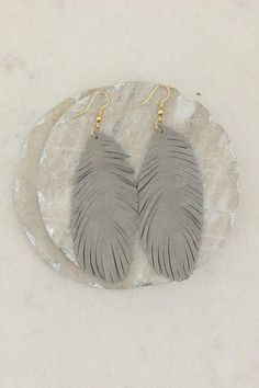 """Add some flare to your outfit with these Light Gray I'll Fly Away Earring Hangs 3.5""""Genuine Suede #earrings #jewelry #womensfashion Jewelry Website, Mom Jewelry, Jewelry For Her, Cute Jewelry, Jewelry Gifts, Jewellery, Monogram Jewelry, Engraved Jewelry, Black And Grey Outfits"""