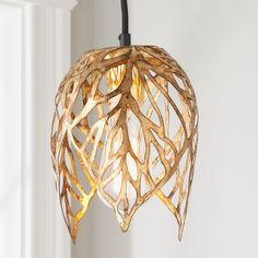 The golden hour shines through the leaves all day with this small, gilded pendant, making it the perfect way to add some warm glamour to any space. Pendant Lighting Bedroom, Chandelier Lighting, Chandelier Shades, Suspended Lighting, Pendant Chandelier, Closet Chandelier, Bedroom Chandeliers, Vintage Chandelier, Lamp Shades