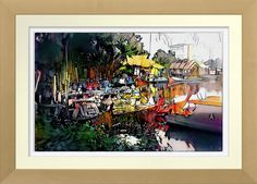 'Morning Malacca' - Art On Canvas Print.  Original art by Roger Smith. Malacca River, Malaysia. Reproduced on Premium Canvas https://www.zazzle.com/morning_malacca_art_on_canvas_print-228380436924276960 #Malacca #Melaka #Malaysia #art #print #RogerSmith