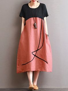 O-NEWE Vintage Loose O Neck Splicing Printed Dresses For Women