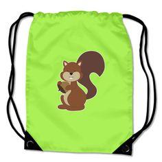 Turnbeutel mit dem Motiv Eichhörnchen. Kinder Turnbeutel BagBase® Eichhörnchen