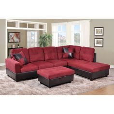 Avellino Red Right Hand Facing Sectional (Red) (Faux Leather)