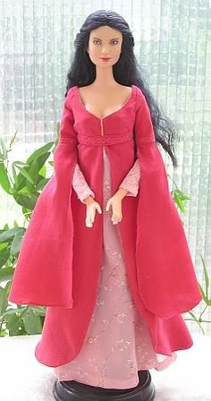 Rose dress - OOAK LOTR dress for Barbie doll Lots of FREE patterns here for period dresses!