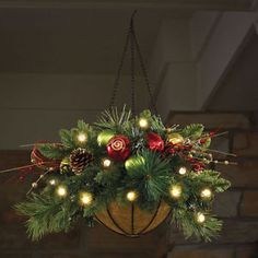 "Outdoor Hanging Christmas Baskets | ... Pre-Lit CHRISTMAS HANGING BASKET 24"" dia. Holiday Decor INDOOR-OUTDOOR"