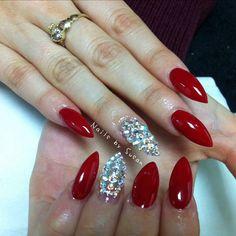 Swarovski crystals, red OPI gel nails