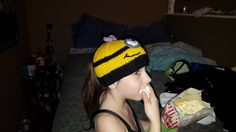 Minion ponytail hat I made.No pattern but I can write one up if you want it.