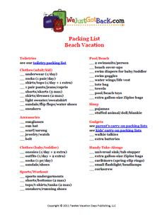 packing list for family beach vacation ...site has lots of other packing lists