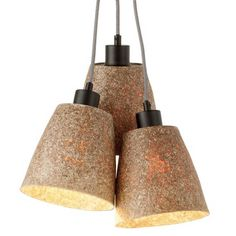 £112 Sequoia 3 Shades Wood Chips Natural Pendant Light
