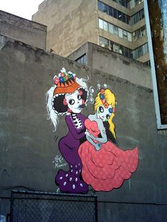 Dia De Los Muertos graffiti by Fafi...is this a frida kahlo reference? maybe? :)