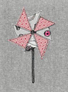 Free motion embroidery pin wheel textile art