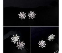 Find More Stud Earrings Information about 2016 Luxury artificial crystal CZ… Cheap Earrings, Dangly Earrings, Simple Earrings, Gold Fashion, Fashion Jewelry, Snowflake Jewelry, Starburst Earrings, Flower Plates, Unique Necklaces