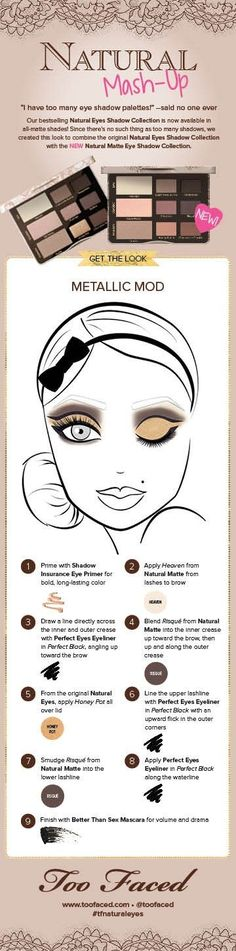 """Get this """"Metallic Mod"""" look using Too Faced's original Too Faced Natural Eyes palette AND the new Natural Matte palette! #toofaced #tfnaturaleyes"""