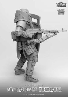Advance Guard Barricade, a single resin figure in 75mm, now available at highcalibreminiatures.com. Click on the pic for more from Nuts Planet and FREE worldwide shipping on all orders of $90 or more Combat Suit, Combat Armor, Military Gear, Military Weapons, Personal Armor, Mighty Power Rangers, Tactical Armor, Futuristic Armour, Sci Fi Armor