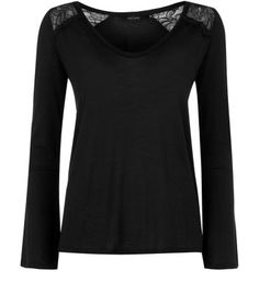 Black.lace shoulder bell sleeve top - New Look