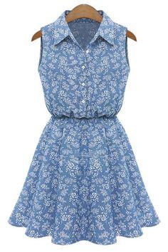 Blue Floral Denim Dress