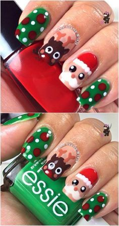 Santa and Rudolph - 20 Fantastic DIY Christmas Nail Art Designs That Are Borderline Genius #KohlsBeauty