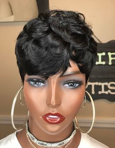 Feathered Bangs, Feathered Hairstyles, Wig Hairstyles, Black Hairstyles, Haircuts, Brown Pixie Cut, Pixie Cut Wig, Pixie Cuts, Short Sassy Hair