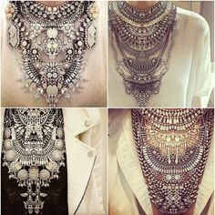 huge statement necklace over a plain crop top or lehenga top, or a plain saree --- Geneva Vanderzeil