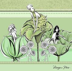 My Gardens of Versailles illustration in shades of apple and mint...