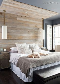 Rustic wood wall and ceiling