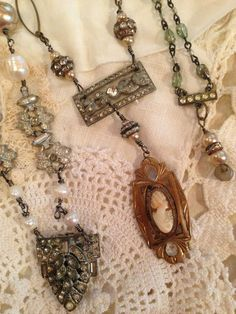 Handmade jewelry made from remnants of vintage jewelry.