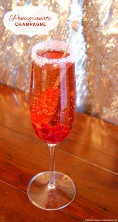 The perfect drink to celebrate the holidays or ring in the New Year - Pomegranate Champagne. #12WeeksofChristmas