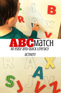 This alphabet matching activity is perfect for building early literacy skills with toddlers and preschoolers. It is also quick and easy to set up! Letter Sound Activities, Alphabet Activities, Literacy Activities, Toddler Learning, Toddler Preschool, Toddler Activities, Learning Games, Phonemic Awareness Kindergarten, Phonological Awareness Activities