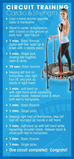 Circuit training for strength will help build muscle & burn calories long after the workout. Conquer cardio & strength in one workout for a full body workout. Mini Trampoline Workout, Health And Wellness, Health Fitness, Circuit Training, Strength Training, Easy Workouts, Fitness Workouts, Yoga, Fat Burning Workout