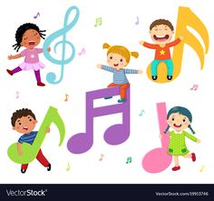 Cartoon kids with music notes. Vector illustration of cartoon kids with music no , Music Crafts, Music Decor, Images Murales, Flashcards For Kids, Music Wall Art, Kids Background, School Murals, Free Cartoons, Music Party