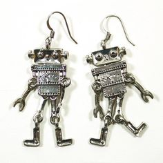 This is sooo me.  Robot Earrings, $14, now featured on Fab.