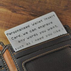FREE Shipping Alloy Wallet Insert Card by LoveHandmadeJewelry, $12.99