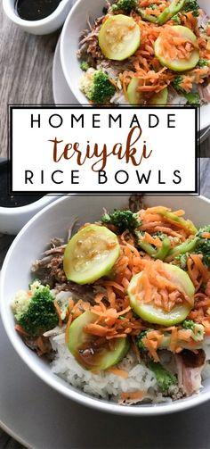 Teriyaki Rice Bowl Recipe - Dinner Idea - Our Thrifty Ideas Teriyaki Rice, Homemade Teriyaki Sauce, Steam Veggies, Duck Sauce, Shredded Pork, Steamed Vegetables, Hoisin Sauce, Rice Bowls, Dinner Recipes