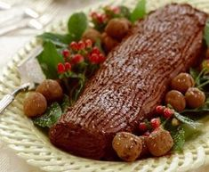 Bûche de Noël is one of my first choices for the Christmas dinner dessert. It has a traditional feel, and looks seasonal, and everyone at the table loves it. While there are two versions, vanilla and chocolate, I usually gravitate. Chocolate Log, Yule Log, Looks Yummy, Black Forest, Christmas Recipes, Winter Christmas, Pot Roast, Yummy Food, Sweets
