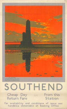 Crowstone Light, by Charles Pears, 1929 Published by Underground Electric Railways Company Ltd, (London Transport Museum) Posters Uk, Railway Posters, Poster Prints, London Transport Museum, Vintage Travel Posters, Poster Vintage, Vintage Advertisements, Artwork, Pears