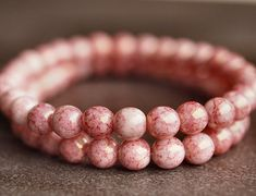 Pink Picasso  6mm Czech Glass Round Druk Bead  by BobbiThisnThat, $2.90