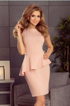 Light pink dress with an asymmetrical frill. NumocoLIMITED EDITIONA light pink dress with a frillThe dimensions are measured on a flat -. Dress Skirt, Peplum Dress, Lace Dress, Mini Dress With Sleeves, Modern Outfits, Asymmetrical Dress, Pink Dress, Beautiful Dresses, Fashion Dresses
