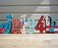 4th of july crafts | Fourth of July crafts / Red white and blue 4th of July letter set by ...