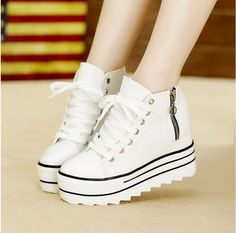 2014 Fashion Womens High Heeled Platform Sneakers Canvas Shoes Elevators White Black High Top Casual Shoes with Zipper de qualidade com envio grátis no AliExpress Mobile High Top Sneakers, Sneakers Mode, Shoes Sneakers, Wedge Sneakers, Superga Sneakers, Canvas Sneakers, Shoes Uk, Top Shoes, Shoes Jordans