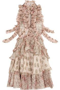 ALEXANDER MCQUEEN Ruffled Printed Silk-Chiffon Mini Dress. #alexandermcqueen #cloth #dresses