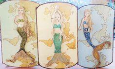 Mermaid Decor Hand painted Yellow Mermaid Map by MidorisMyMuse