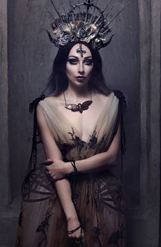Haute Goth Fashion Corset Dress ~ Dark Beauty Gothic Couture Hip Fins Crinoline Corset ~ Gothic Glam Beaded Sheer Dress ~ Alice Corsets ~ Photo by Lena Berkas ~ Model, mua @Katrin Lanfire ~ Necklace cu.nature ~ Headpiece and rosarium mywitchery ~ Crinoline-dress @Alice Corsets