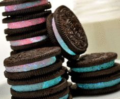 colored oreos! so cute! probably not to hard to make