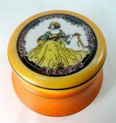 Elegance for your dressing table - Art Deco White Milk Glass/Tango Orange Lady+Guitar Powder Bowl Toilet Jar 1930s - ebay £4.95
